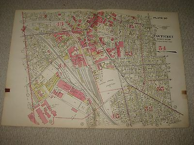 Antique 1917 Pawtucket Rhode Island Handcolored Map Business Industry Section Nr