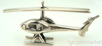 Miniature Sterling Silver Helicopter Copter Chopper #058