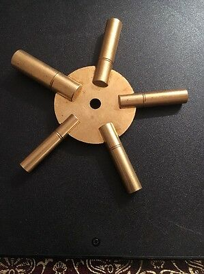 Clock Winding Bench Key Brass Sizes  4-6-8-10-12 Winder 5 Star