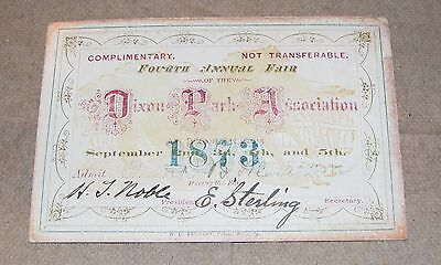 1873 Dixon Park Association Illinois Fourth Annual Fair Ticket Signed E Sterling