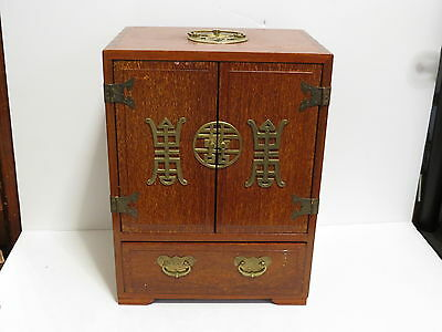 * Vintage Wooden Chinese 2 Door Cabinet Brass Accents Hardware *