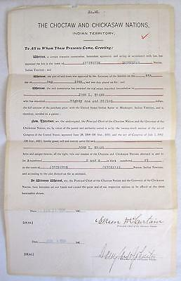 1906 Historic Native American Document Indian Land Patent Choctaw & Chickasaw