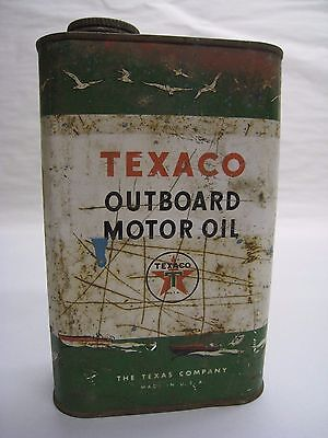 Vintage Texaco Outboard Motor Oil 1 Quart Can Empty