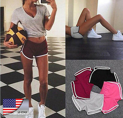 US HOT Womens Summer Pants Sports Shorts Gym Workout Waistband Skinny Yoga Short