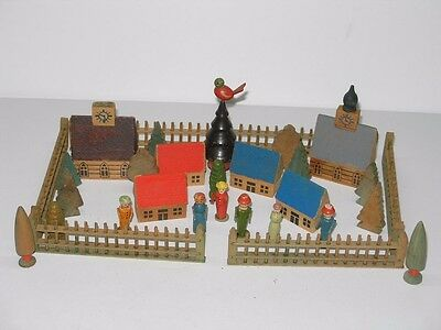 31 Piece Vintage Wood Putz Village With Houses Fence Trees And People