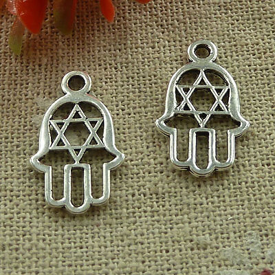 free ship 520 pieces tibetan silver hand charms 21x13mm #3356