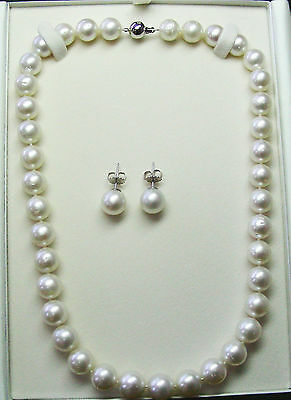 16.1mm!! NECKLACE-EARRING SET SOUTH SEA PEARLS+18ct WHITE GOLD CLASP/STUDS +CERT