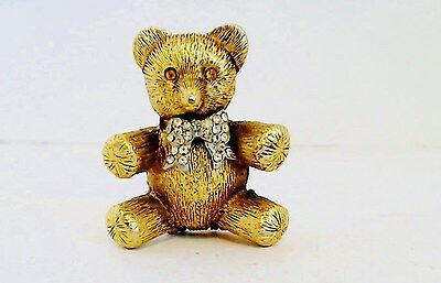 Max Factor Solid Perfume Bear Compact Jeweled Bow Tie Eyes Full Unnamed Perfume
