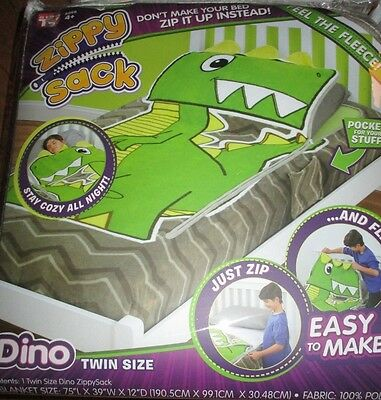 Zippy Sack Dino Dinosaur Twin Snuggie Fitted Comforter Blanket Sleeping Bag