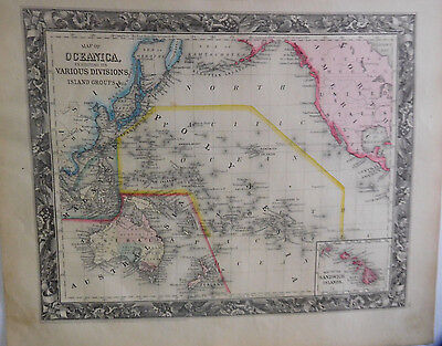 Map Of Oceanica / Various Divisions, Island Groups, Mitchell's Atlas, 1861