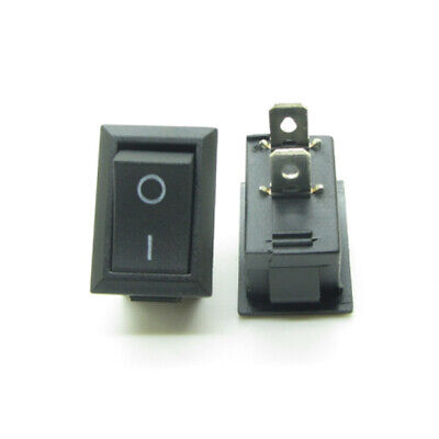 10PCS Mini Black Power OFF-ON Rocker Switch Rectangula​r 13x20mm 12V  2 Pin SPST