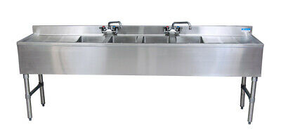 "BK Resources BKUBW-496TS 96""Wx18-1/4""D Stainless Steel Slimline Underbar Sink"