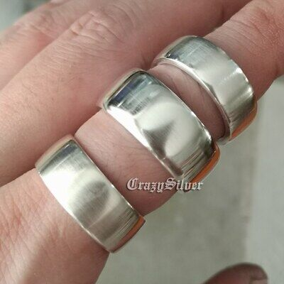 ee0cac92cb22 925 Sterling Silver Open Size Simple Ring 3 Width Mens Biker Ring 9Y009A US  5~