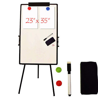 "Portable 23""x35"" Magnetic Whiteboard Dry Erase Board Aluminum Tripod Easel Stand"
