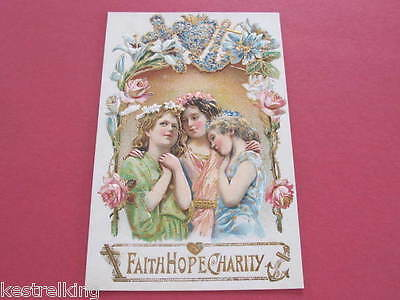 Faith Hope & Charity Embossed Postcard