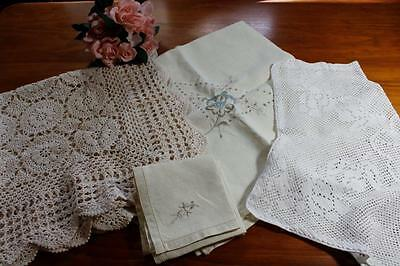 Vintage Crochet Lace & Embroidered Tablecloths, Napkins, Table Centre Doily