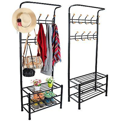Metal Hat Coat Stand Clothes Shoes Rack Umbrella Steel Stand Hanger Hooks Black