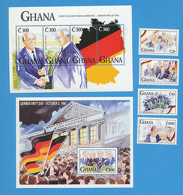 GHANA - scott 1368-1371 Reunification of Germany, VFMNH set & two S/S - 1992
