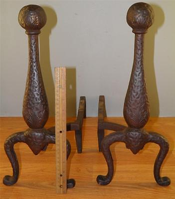Antique Arts & Crafts Rustic Pair Of Hand Hammered Cast Iron Fireplace Andirons