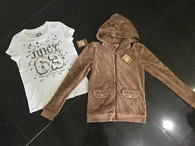 NWT Juicy Couture New & Gen. Girls Age 10 Brown Velour Hoody & T-Shirt & Logos