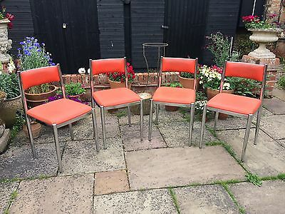 A funky set of four French retro chrome chairs