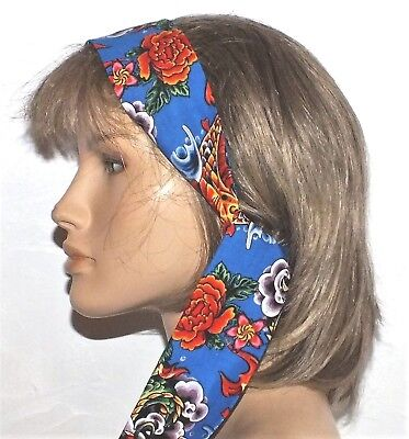 NEW VINTAGE STYLE BLUE PINK RED FLORAL COTTON SELF TIE BOW SCARF HEAD BAND E577