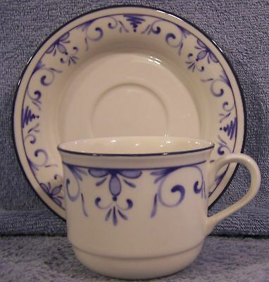 Lenox Country Blue Chinastone-3 Cups 4 Saucers-Lot of 7