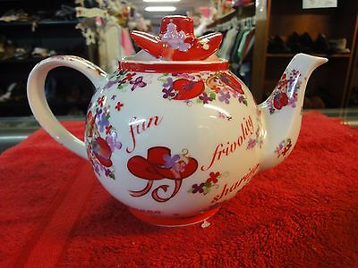 Cardew Red Hat ladies womens Society Pink Chintz Teapot sisterhood friendship ++
