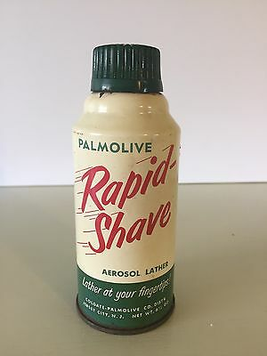 Vintage Palmolive Rapid Shave Aerosol Lather Can  Advertising Contains Product