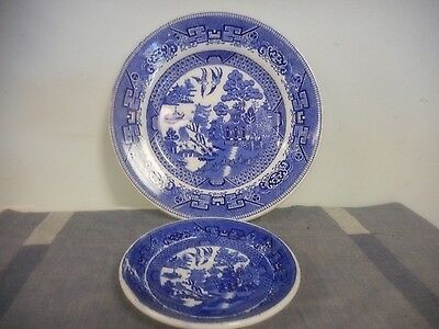 Vintage Burley & Co. Dinner Plate & Saucer Blue Willow England Flaw