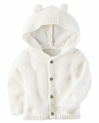 Carters Newborn 3 6 9 12 Months White Hooded Cardigan Baby Girl Clothes Sweater