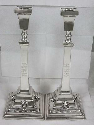 """Antique Sterling Silver 12 3/8"""" Tall Lion Head Decorated Candlesticks dated 1938"""