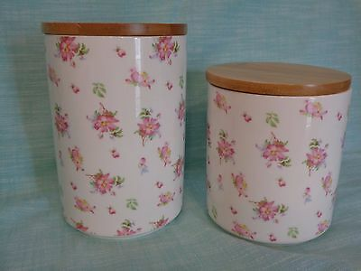 Grace's Teaware Spring Floral Roses Set Of 2 Ceramic Tea Sugar Flour Canisters