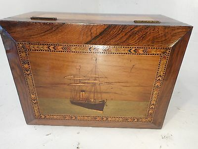 Antique Portsea , Trinty House , inlaid , fitted Box , Tall Ship   , ref 2926