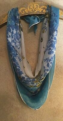 "VIntage 1950 -1960's Silk Scarf Abstract Floral Blue Green Hand Roll 30"" Square"