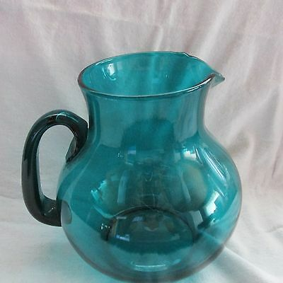 Pilgrim Art Glass Large Bulb Type Pitcher Jug Dark Teal Green Blue
