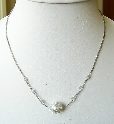 18ct SOLID WHITE GOLD NECKLACE+WHITE SOUTH SEA 12.6mm! PEARL 100% UNTREATED+CERT