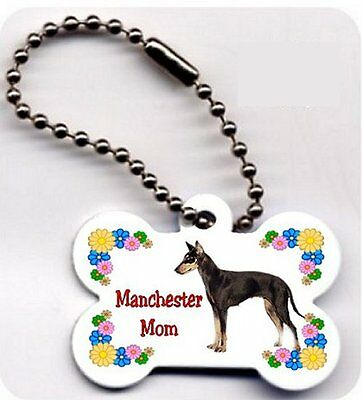 Manchester Terrier Mom dog bone shaped key ring chain metal