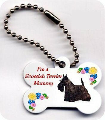 Mom dog bone shaped Scottish Terrier key chain metal 2 sided