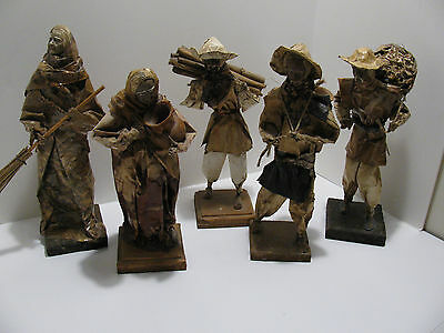 "Mexican Paper Mache Folk Art Figures 12""-13"" Tall - Group of 5"