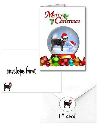 30 Affenpinscher Christmas cards seals envelopes 90 pieces snow globe design