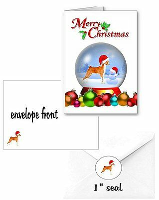 30 Basenji Christmas cards seals envelopes 90 pieces snow globe design