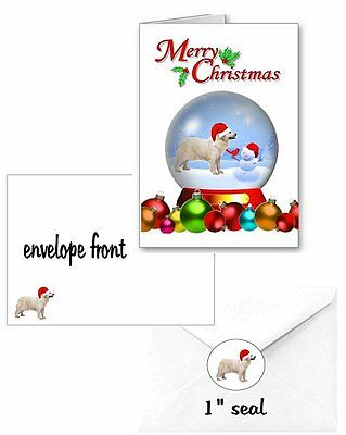 30 Great Pyrenees Christmas cards seals envelopes 90 pieces snow globe