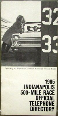 1965 Plymouth Sport Fury Convertible Indianapolis 500 Pace Car Phone Book