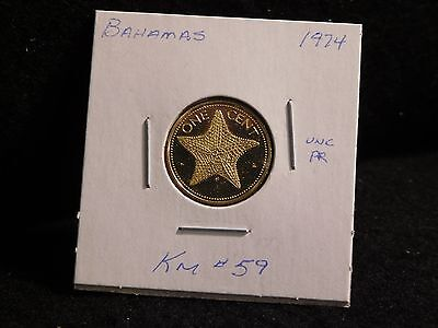 Bahama Islands:   1974    1 Cent  Coin  Proof   (Unc.)    (#1107)  Km # 59