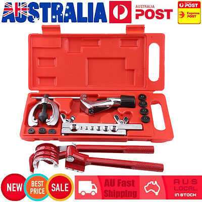 11pcs Pipe Flaring Kit Brake Fuel Repair Tube Bender Cutter Kit Plumbing Tool AU