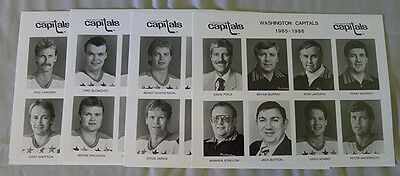 Original Lot of 4 NHL Washington Capitals 1985-86 Hockey Press Photos
