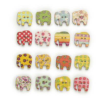 50pcs Mixed Elephant Wood Buttons Sewing Scrapbooking Decor Clothing 30x28mm