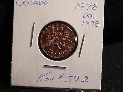 Canada; 1978  Error  (Double  1978)  Small Cent  (#282) ( Unc)Km #59 .2
