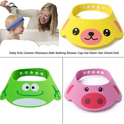 Baby Kids Cartoon Shampoo Bath Bathing Shower Cap Hat Wash Hair Shield Soft